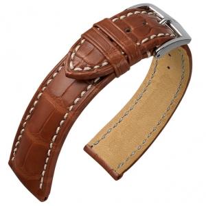 Hirsch Ocean Louisiana Alligator Horlogebandje Semi-Mat Goudbruin