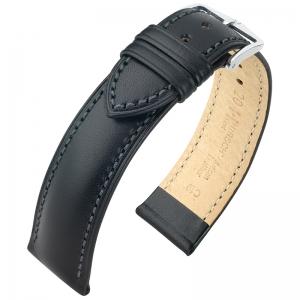Hirsch Kent Artisan Horlogebandje Italiaans Kalfsleer Zwart