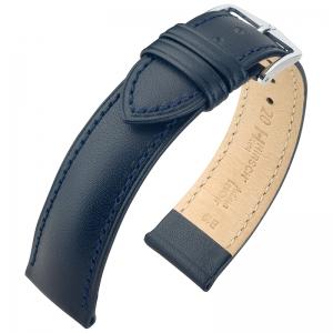 Hirsch Kent Artisan Horlogebandje Italiaans Kalfsleer Blauw