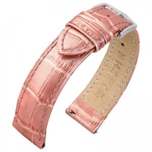 Hirsch Duke Horlogebandje Alligatorgrain Metallic-Roze Limited Edition