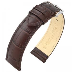 Hirsch Duke Horlogebandje Alligatorgrain Donkerbruin