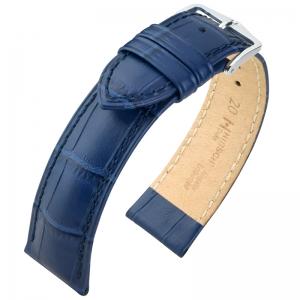 Hirsch Duke Horlogebandje Alligatorgrain Blauw