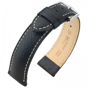 Hirsch Boston Horlogebandje Buffelkalf Zwart