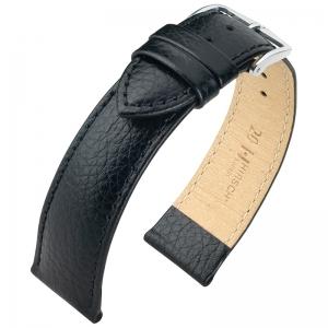 Hirsch Kansas Horlogebandje Buffelgrain Zwart