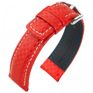 Hirsch Carbon Horlogebandje 100 m Water-Resistant Rood