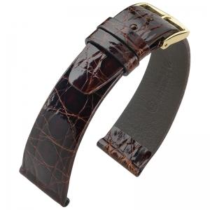 Hirsch Prestige Horlogeband Glanzend Krokodillenleer Bruin
