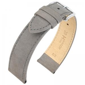 Hirsch Nubuck Osiris Horlogebandje Kalfsleer Grijs