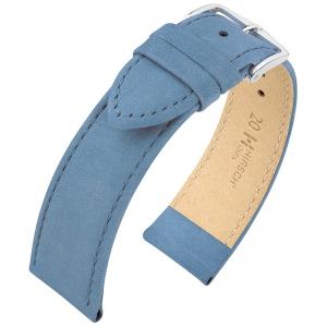 Hirsch Nubuck Osiris Horlogebandje Kalfsleer Blauw