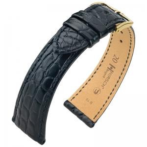 Hirsch Regent Horlogebandje Echt Alligator Flankleer Mat Zwart