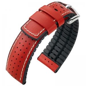 Hirsch Tiger Performance Horlogeband Rood Leer / Zwart Rubber
