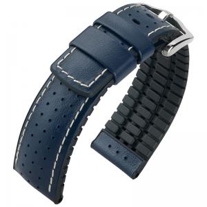 Hirsch Tiger Performance Horlogeband Blauw Leer / Zwart Rubber