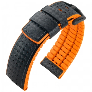 Hirsch Ayrton Performance Horlogeband Zwart Leer / Oranje Rubber