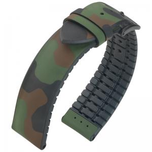 Hirsch John Performance Horlogeband Camouflage Zwart Rubber