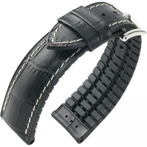 Hirsch George Performance Horlogeband Zwart Leer / Rubber Wit Stiksel