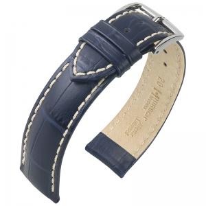 Hirsch Modena Horlogebandje Alligatorgrain Blauw