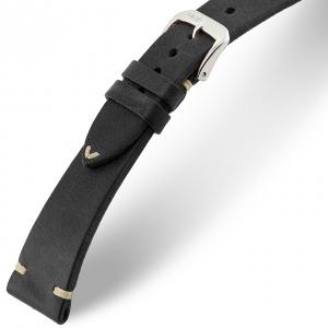 Rios Bedford Horlogebandje Vintage Leer Zwart