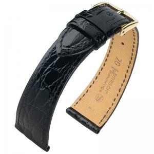 Hirsch Genuine Croco Horlogeband Glanzend Krokodillenleer Zwart