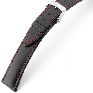 Rios Smart Horlogebandje Rundsleer Zwart Rood Stiksel