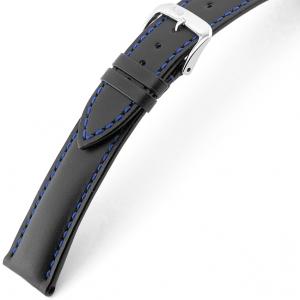 Rios Smart Horlogebandje Rundsleer Zwart Blauw Stiksel