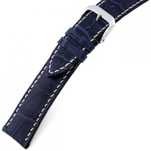 Rios New Orleans Alligator Horlogebandje Rundsleer Blauw