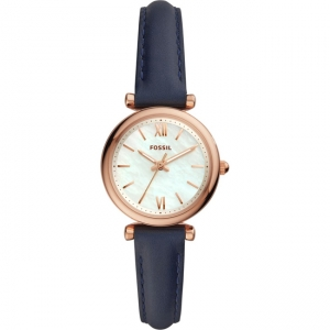 Fossil Carlie Mini ES4502 Horlogeband Blauw Leer