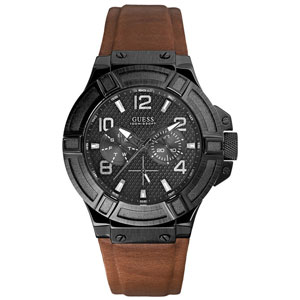 Guess Horlogebandje W0040G8 Rigor Bruin Zadelleer