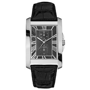 Guess Horlogebandje W10213G1 Zwart Leer Krokostructuur