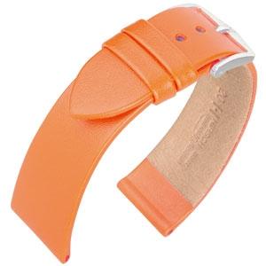 Hirsch Fashion Italiaans Nappa Kalfsleer Horlogebandje Oranje