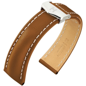 Hirsch Navigator Horlogebandje voor Breitling Vouwsluiting Italiaans Kalfsleer Goudbruin