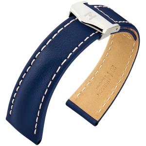 Hirsch Navigator Horlogebandje voor Breitling Vouwsluiting Italiaans Kalfsleer Blauw
