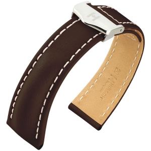 Hirsch Navigator Horlogebandje voor Breitling Vouwsluiting Italiaans Kalfsleer Bruin