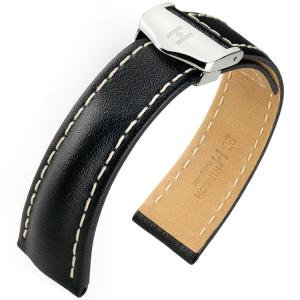 Hirsch Navigator Horlogebandje voor Breitling Vouwsluiting Italiaans Kalfsleer Zwart
