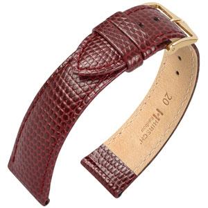 Hirsch Rainbow Horlogebandje Lizardgrain Wijnrood