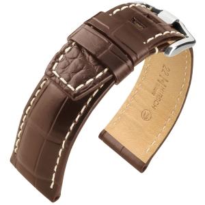 Hirsch Tritone Horlogeband Nijl Krokodillen Leer Semi-Mat Bruin