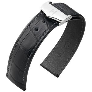 Hirsch Voyager Horlogeband voor Omega Vouwsluiting Louisiana Alligator Zwart
