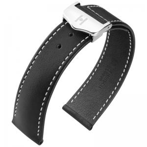 Hirsch Voyager Horlogeband voor Omega Vouwsluiting Italiaans Kalfsleer Zwart Wit Stiksel