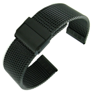 Mesh Milanaise Horlogebandje Grof Geweven Zwart Staal