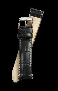 Fromanteel Alligatorgrain Horlogeband Zwart Wit Stiksel L/XL