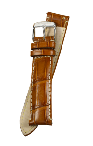 Fromanteel Alligatorgrain Horlogeband Cognac Wit Stiksel L/XL