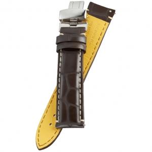 Fromanteel Pendulum Horlogeband Donkerbruin Wit Stiksel met Vouwsluiting