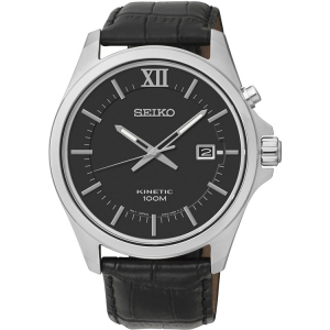 Seiko Kinetic Horlogeband SKA573P2 Zwart Leer