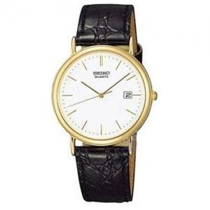 Seiko Horlogeband SKK086 Zwart Leer