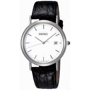 Seiko Horlogeband SKK693P1 Zwart Leer