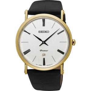 Seiko Premier Horlogeband SKP396 Zwart Leer