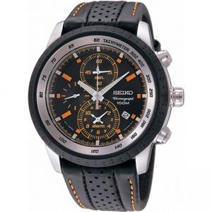 Seiko Chronograph Horlogeband SNAB59P1 Zwart Leer