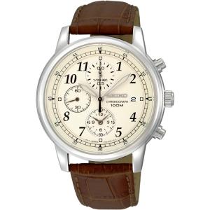 Seiko Chronograph Horlogeband SNDC31 Bruin Leer