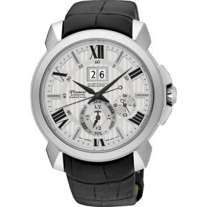 Seiko Premier Horlogeband SNQ143P1 Zwart Leer