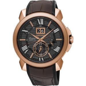 Seiko Premier Horlogeband SNP146P1 Rubber, Bruin Leer