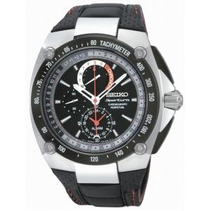 Seiko Sportura Perpetual Horlogeband SPC047P2  Zwart Leer