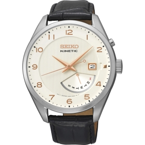 Seiko Kinetic Horlogeband SRN049P1 Zwart Leer